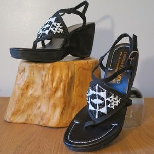 [Donald J Pliner] Vito Beaded Wedge Sandals Size 8